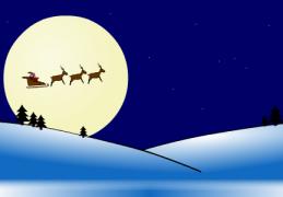 Le Père Noël sur son traineau tiré par les rennes - Carte de voeux virtuelle