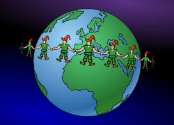 La ronde des lutins du Père Noël - Carte de voeux virtuelle