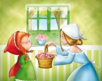 La maman du Petit Chaperon Rouge lui donne un panier pour sa grand mère
