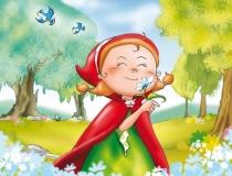Le Petit Chaperon Rouge flâne tranquillement dans les sous-bois