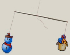 Détail d'une branche du mobile avec 2 éléments fixés