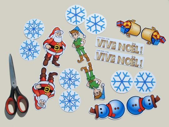 Eléments du mobile Vive Noel découpés