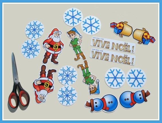 El�ments du mobile Vive Noel d�coup�s